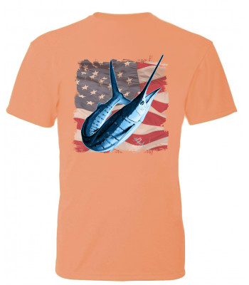 Signature Series - White Marlin America Flag (Tangelo) - Short Sleeve