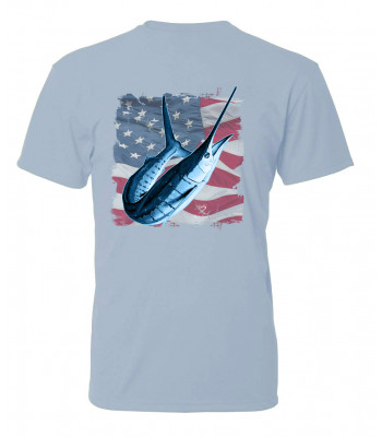 Signature Series - White Marlin America Flag (Bliss Blue) - Short Sleeve