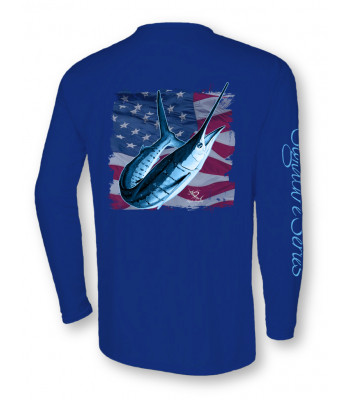 White Marlin American Flag - Royal Blue