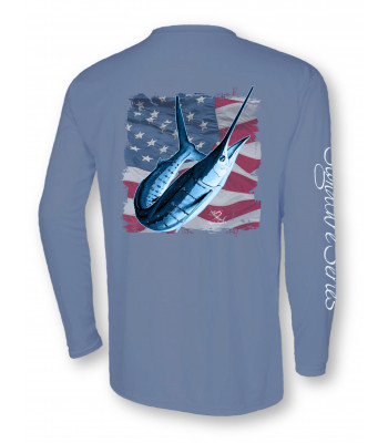 White Marlin American Flag - Slate