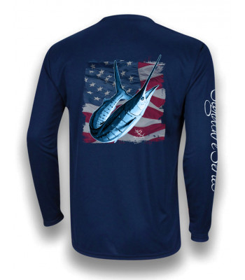White Marlin American Flag - Navy
