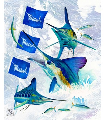 White Marlin Release on Canvas