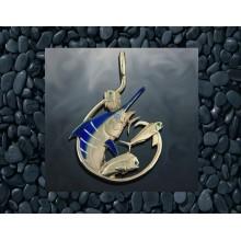 Marlin Circle Hook Enameled Gold Pendant