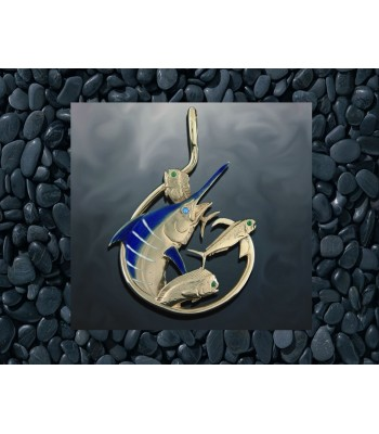 Marlin Circle Hook Enameled Gold Pendant